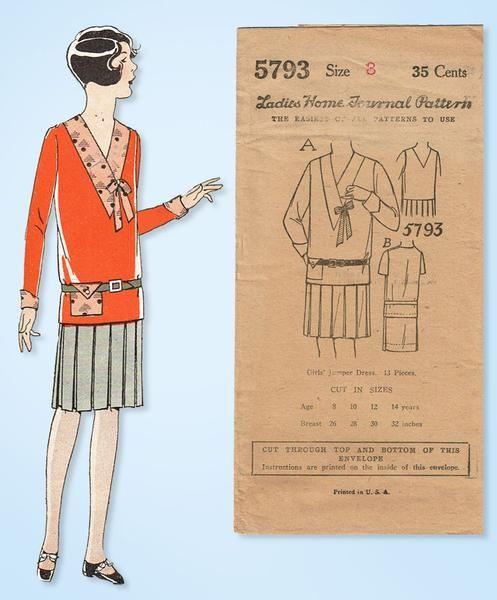 1920s VTG Ladies Home Journal Sewing Pattern 5793 Uncut Girls Jumper Dress Sz 8