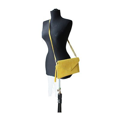 Lucia Italian Yellow Leather Envelope Clutch Bag - £24.99