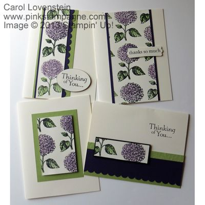 handmade cards: 13-in-one-derful  ... cards # 1-4 .... great layouts ... hydrangea paper ... olive and lavender .. luv the layered layouts ... Stampin'Up!
