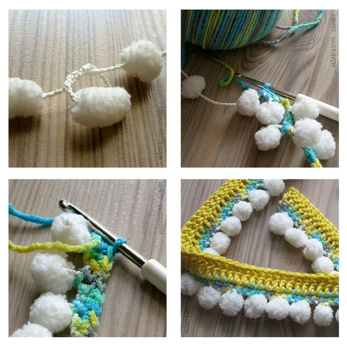 Pompom yarn and crocheted stitches