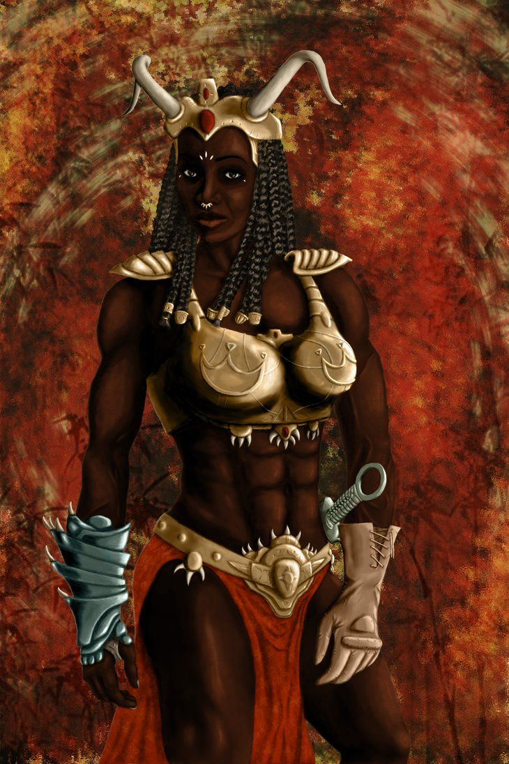 African fantasy warrior woman by