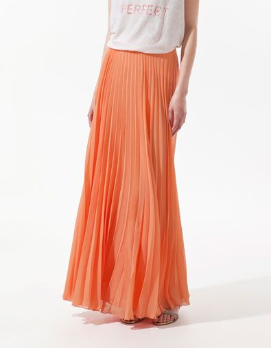 peach pleats: ($90)  I have a coral skirt like this from #Forever21 that is coral and about $ 25