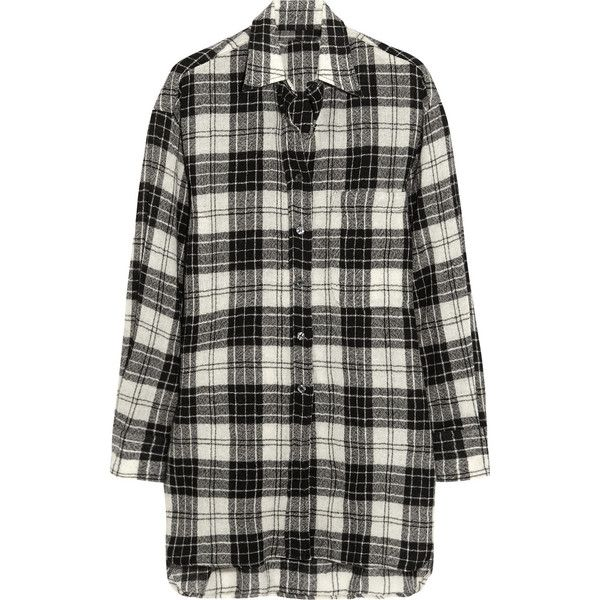 R13 Oversized plaid wool shirt, Black, Women's, Size: S ($315) ❤ liked on Polyvore featuring tops, blouses, shirts, dresses, camisas, grunge shirts, grunge plaid shirt, oversized plaid shirt, plaid shirt y black blouse
