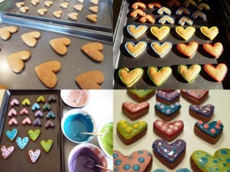 Decorating gingerbread hearts.