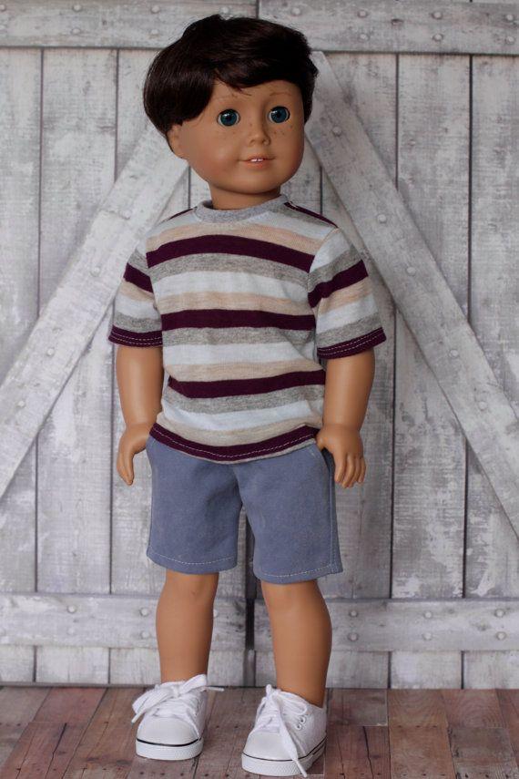 American Boy Doll Clothes Gray Brown Striped BOY by Closet4Chloe