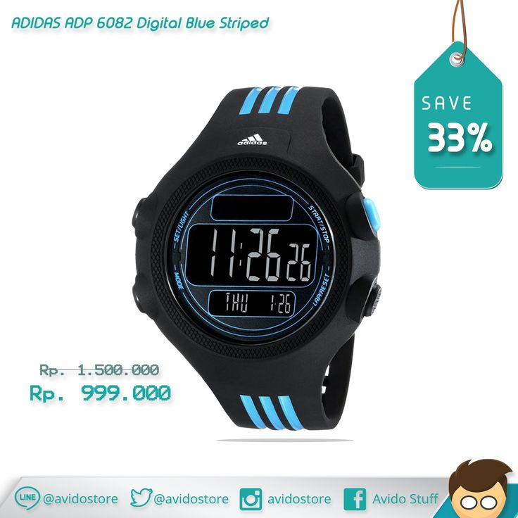 Information about Adidas Unisex ADP 6082 Digital Blue Striped Watch Original :  Black and blue resin case with a black and blue resin strap. Fixed black resin bezel. Black digital dial. Dial Type: digital. Quartz movement. Scratch resistant mineral crystal. Solid case back. Case diameter: 53 mm. Case thickness: 15 mm. Round case shape. Band width: 25 mm. Tang clasp. Water resistant at 50 meters / 165 feet. Functions: hour, minutes, second, date, stopwatch, backlight. Sport watch style.