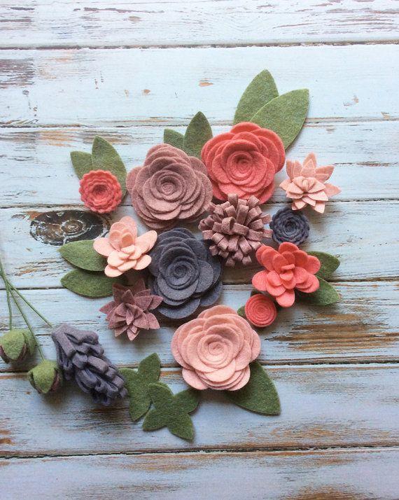 Wool Felt Fabric Flowers - Flower Embellishment - Large Posies - 17 Flowers & 14 leaves - Create Headbands, DIY Wreaths, Felt Garlands