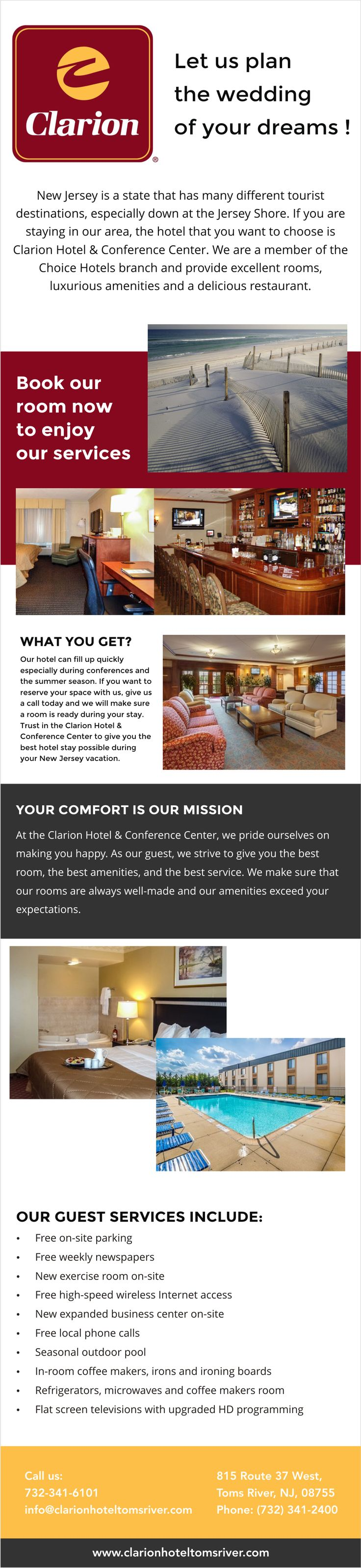 NJ has many different tourist destinations, especially down at the Jersey Shore. If you are staying in our area, the hotel that you want to choose is Clarion Hotel & Conference Center (http://clarionhoteltomsriver.com). We are a member of the Choice Hotels branch and provide excellent rooms, luxurious amenities and a delicious restaurant.  We can host your business meeting, corporate meeting, corporate event, or business conference any day of the week in Toms River NJ. Our award winning…