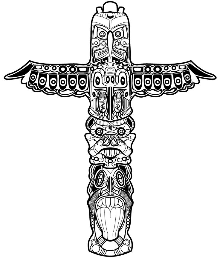 totem pole design template - native totem pole coloring pages free piikea st sketch