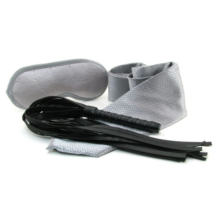 Sultry, seductive, and versatile, the Tie Me Up kit is a beginner friendly fetish and bondage kit combining three effective light bondage staples. It features a blindfold, a faux leather flogger and a silky silver tie; 50 shades of Grey style!