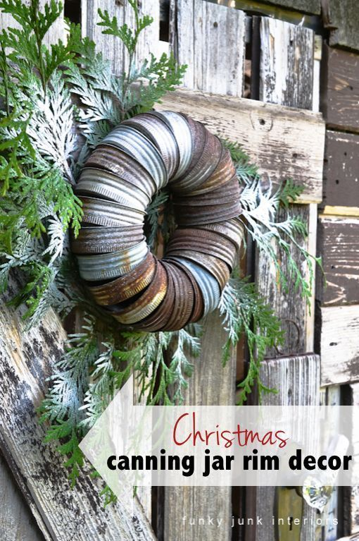 Industrial Christmas decor from canning jar rims! By Funky Junk Interiors for ebay.com