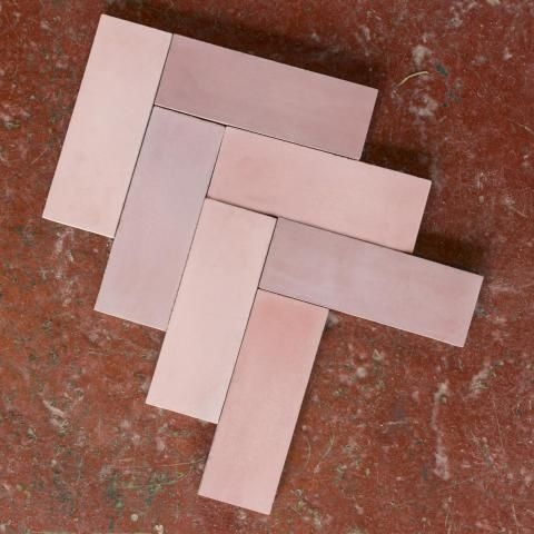 Bert & May Pink Herringbone cement Tile £198 sqm +VAT 20x7cm