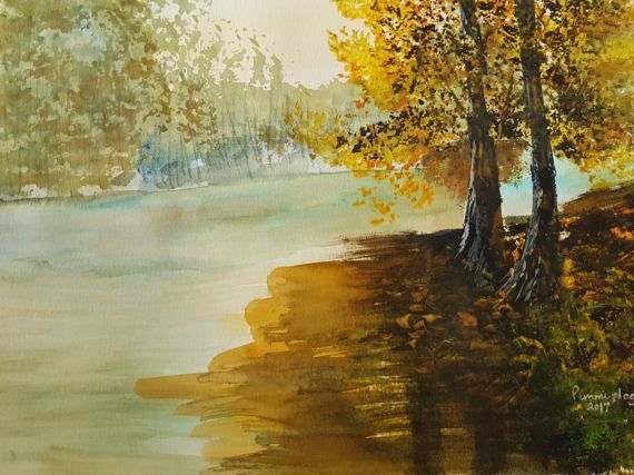 Twin trees by the River by ChezPimmi on Etsy