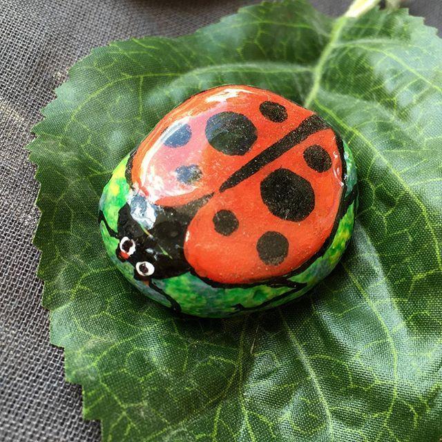 "this ladybug ""rocks""! #paintedrock #ladybug #etsyshop #bugs #insect #rockart #redandblack #blackdots #polkadots #summerart #etsyseller #KarensFineCrafts"