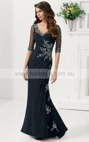 Floor-length Half-Sleeves Jersey Mermaid Black Evening Dresses afaa1006--Hodress