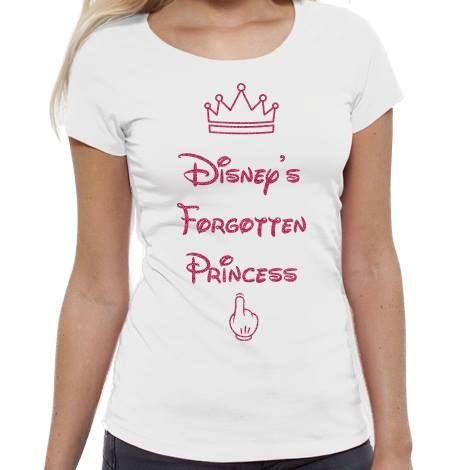 Tricou alb din bumbac cu mesajul 'Disney's Forgotten Princess' , disponibil pe mărimile: XS, S, M şi L.