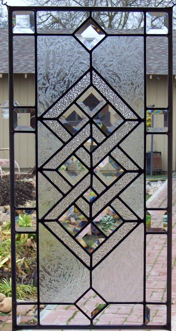 Interlocking Diamonds Stained Glass Window by DebsGlassArt on Etsy, $150.00