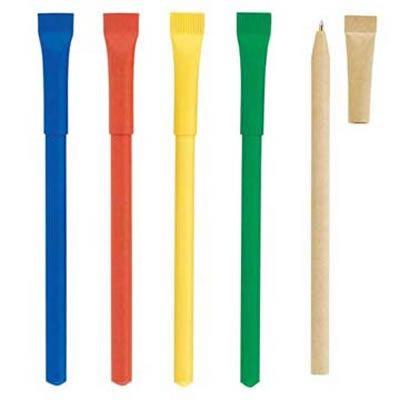 REF:SD-ECO PEN 1   Bolígrafo Ecológico. Elaborado con Cartón Reciclado. Las Cantidades Disponibles en Inventario Pueden Variar y Están Sujetas a Control de Calidad. Tipo de Producto: IMPORTADO. Medidas: 14 cm. Técnica de Marca: Tampografia. Área de Marca: 5 cm ancho x 5 mm alto. Color Disponible: Azul, Rojo y Amarillo.
