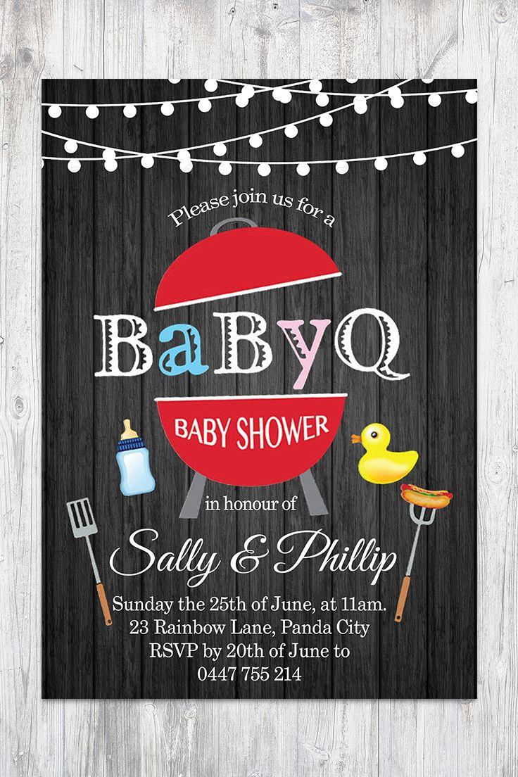 BBQ Baby Shower Invitation BabyQ Shower Invitation. Wooden Panel Co-ed Baby Shower Invite Babyque Boy or Gril. Printable digital DIY