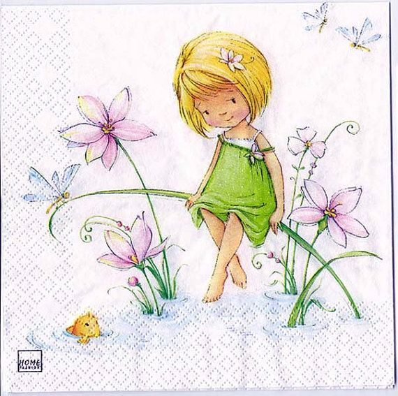 4 Decoupage Napkins  Charming Little Girl at Spring w/fish