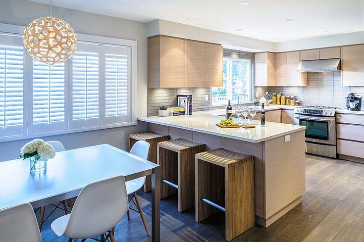 Modern open kitchen featuring Bamboo Pendant