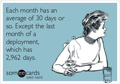 Each month has an average of 30 days or so. Except the last month of a deployment, which has 2,962 days.