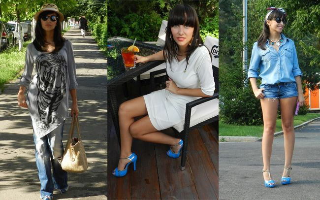 Rodica a ales sandalele trendy Shelby dela Matar.ro de culoare albastra, si a creat trei tinute diferite cu ele: una casual, una boho-chic si una eleganta. Pentru mai multe detalii click pe poza!