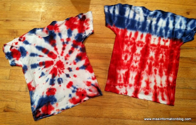 See how to make these tie dye patterns for the 4th  Miss Information: Our Annual 4th of July T-Shirts