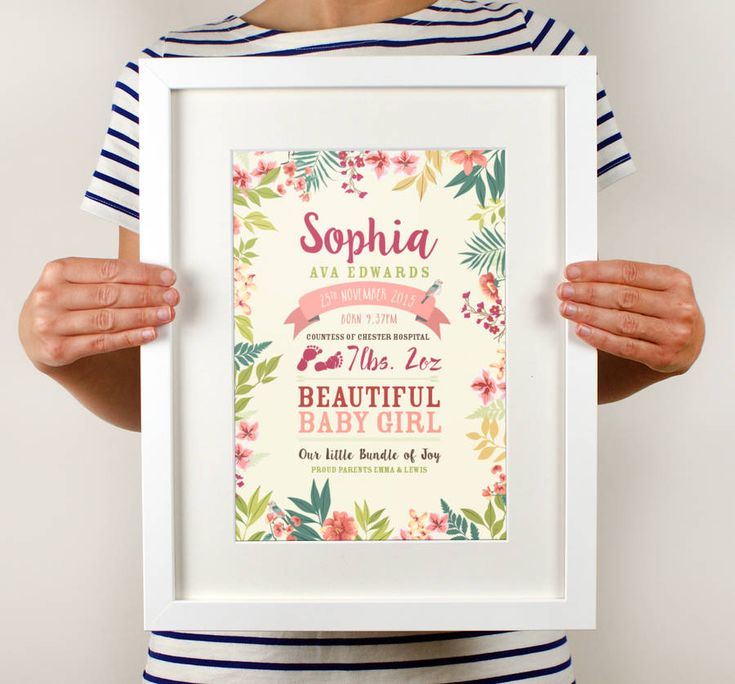 floral birth details print by over & over | notonthehighstreet.com