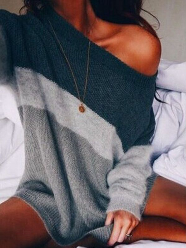 US STOCK Women Casual Long Sleeve Knitted Pullover Loose Sweater Jumper Knitwear