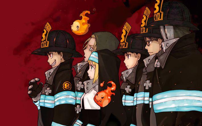 Lataa kuva Palokunta Liekit, manga, kaikki merkit, palomiehet