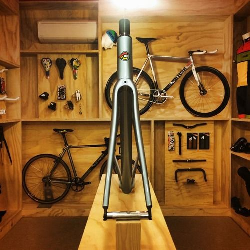 Beautiful. I love unpainted plywood rooms and bicycles.. - JK