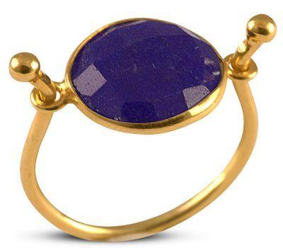 Δαχτυλίδι από επιχρυσωμένο ασήμι με ορυκτό μπλέ ζαφείρι