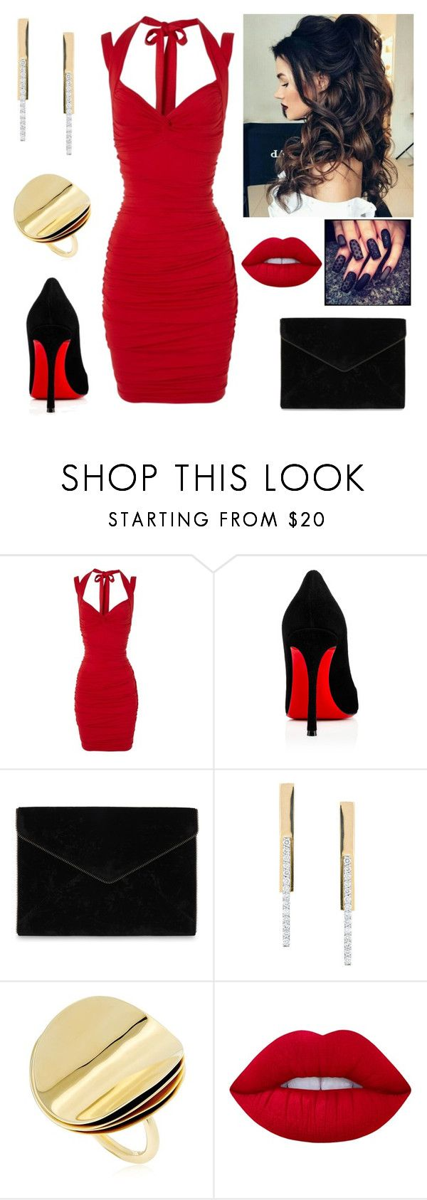 """""""Red Temptress"""" by paoladouka on Polyvore featuring Jane Norman, Christian Louboutin, Rebecca Minkoff, Lana, Elizabeth and James and Lime Crime"""