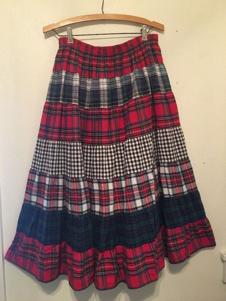"""Koret 90""""S Plaid and Check Flannel Tiered Circle Broomstick Skirt Praire Grunge #koret"""
