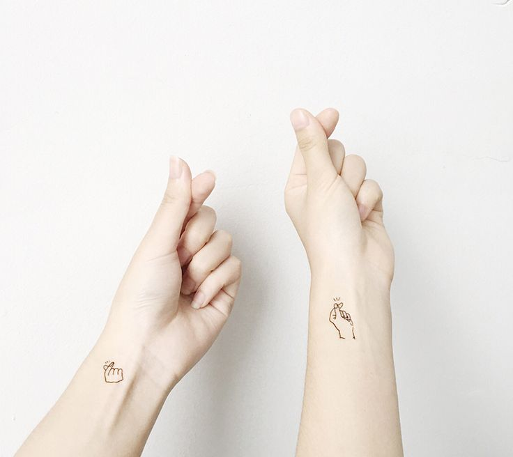 love you quote tattoo - Kpop Hot Finger Heart gestures small tattoo