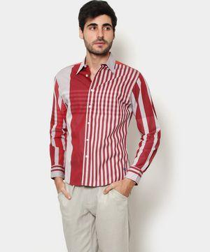 Camisa con Estampado de franjas Vino y Gris claro