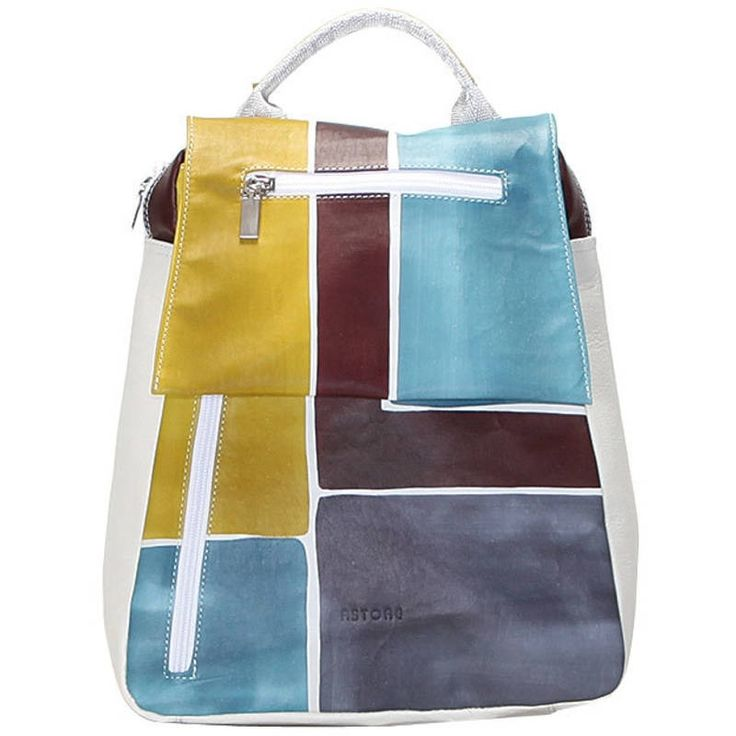 Natural leather backpack, unisex, hand painted. Practical and casual, it's especially suitable for men. All handbags can be purchased with matching shoes, wallet, belt and other accessories. Colors grey green light blue and dark violet and pattern geometrical.