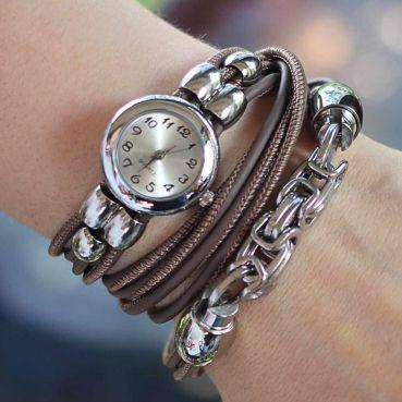 Designerschmuck| Designer Schmuck online bestellen-Wickelarmband aus Nappa-Leder in Taupe mit Quartz-Uhr