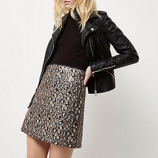 Silver sequin animal print mini skirt - mini skirts - skirts - women
