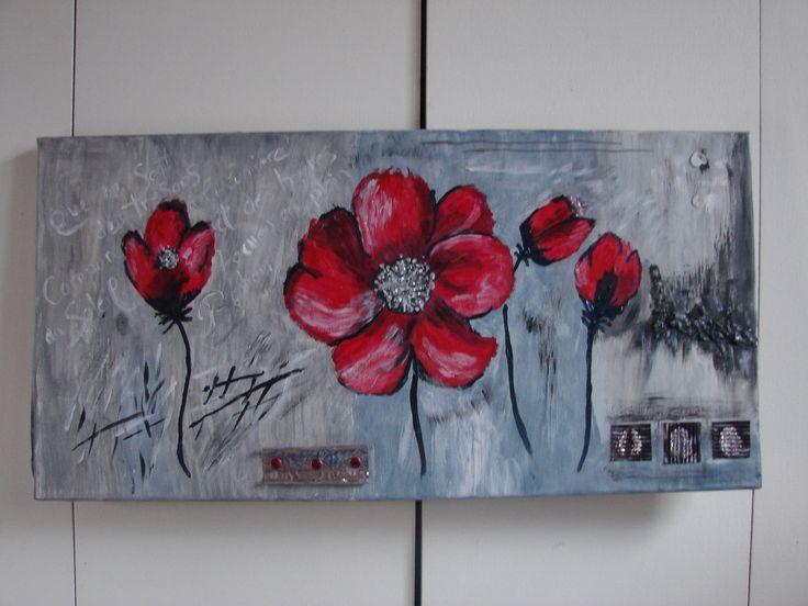 Cadre d coratif coquelicots sur fond gris d coration et rouge for Peinture gris rouge