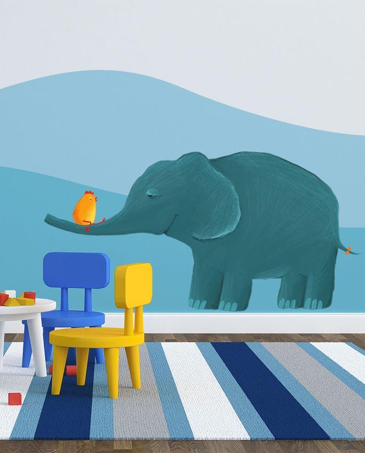 """Naklejki na ścianę, dekoracje dla dzieci, kolorowe dekoracje do pokoju dziecka. W bimago znajdziecie to wszystko: na przykład wesołą naklejkę ścienną z ilustracją przyjaznego niebieskiego słonika """"Najlepsi przyjaciele"""""""