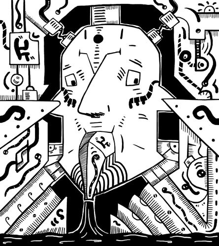 Black and white #surrealist #drawing of a surreal pump. #Surreal face is pumping something out of his face. Automatic #drawing of a #subconscious world. #Primitive #surrealism