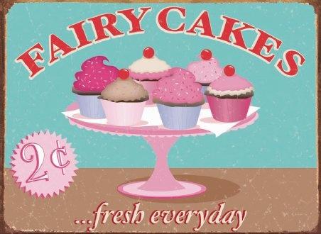 Fairy cakes vintage tin sign: Fairy cakes vintage tin sign