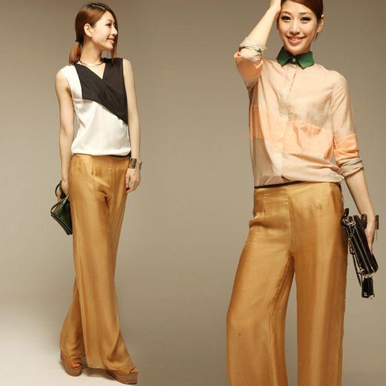 Весна лето европейский стиль женщины в желтый черный без тары широкий ноги 100% шёлк платье брюки женское элегантный брюки брюкикупить в магазине Jeanie Deng's storeнаAliExpress