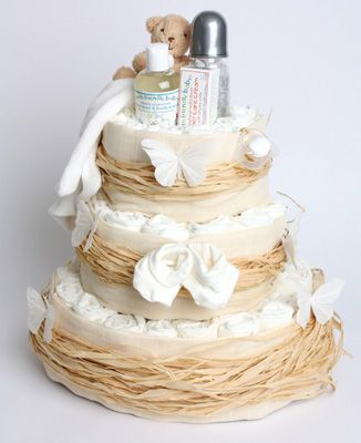 This 3 Tier Organic Nappy Cake would be perfect for a baby shower.
