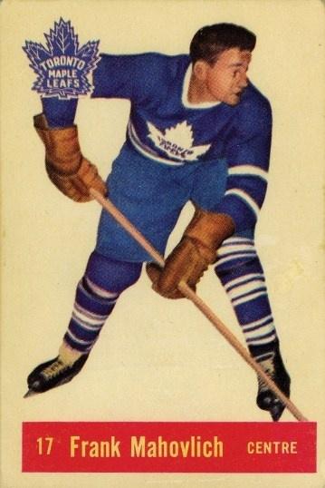 frank mahovlich 1957-58 parkhurst 17 rookie card.
