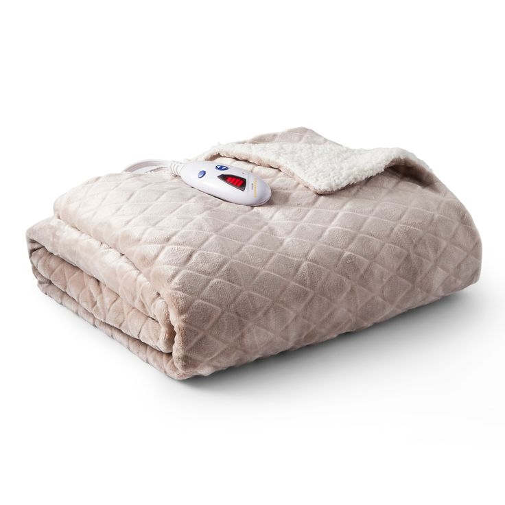 """Velour with Sherpa Diamond Heated Throw (62""""x50"""") Taupe (Brown) - Biddeford Blankets"""