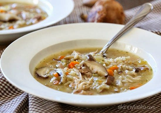 Chicken Shiitake and Wild Rice Soup Recipe with 100 calories. Includes butter, onion, flour, less sodium chicken broth, water, carrots, garlic cloves, celery ribs, boneless chicken skinless thigh, long-grain rice, brown rice, shitake mushroom, light sour cream, pepper, salt.