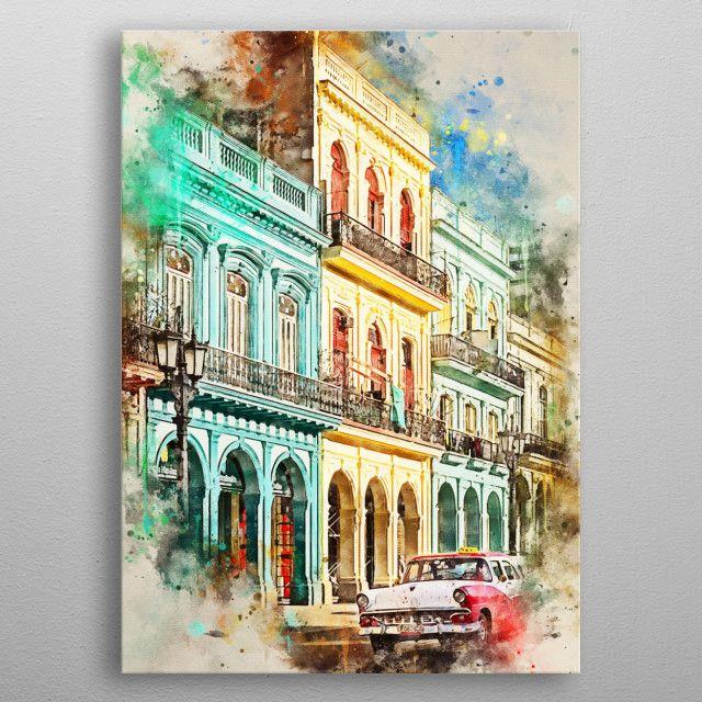 Cuba In Watercolor Nature Poster Print Metal Posters In 2020